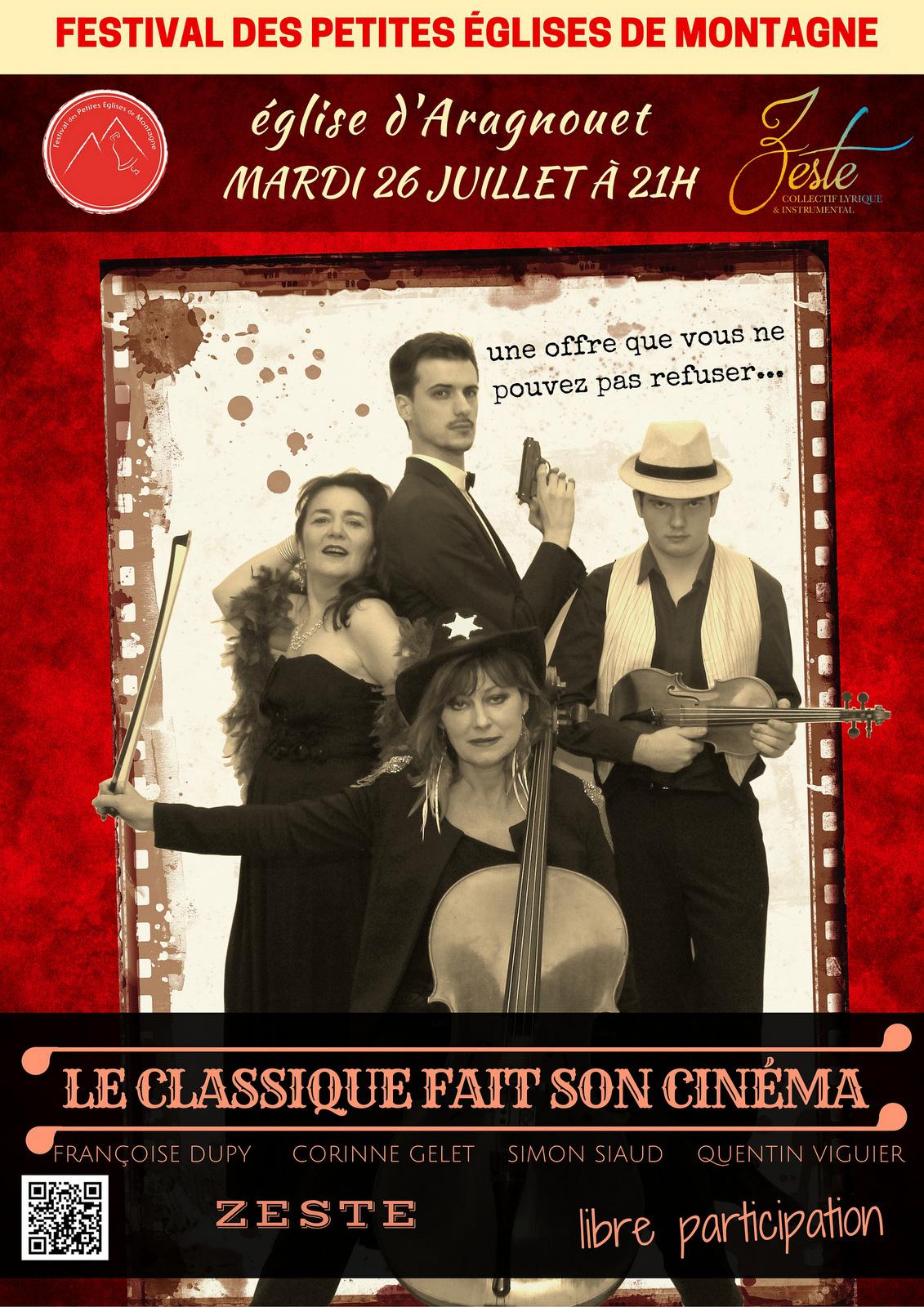 L'ensemble Zeste fait son cinéma en interprétant des airs de films à Aragnouet le 26 juillet